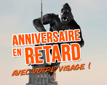 En retard à cause de King-Kong - carte virtuelle humoristique à personnaliser
