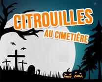 Citrouilles au cimetière - carte virtuelle humoristique à personnaliser